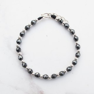 Big staff Taipa [manual silver] black gallstone × silver beads natural stone bracelet handmade sterling silver