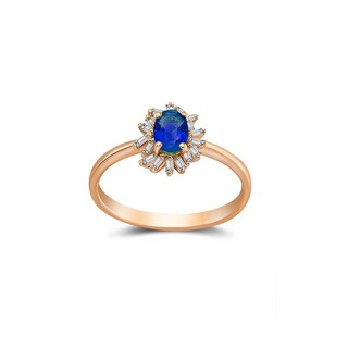 Sapphire Ring Surrounded by Irregular Shape Diamond