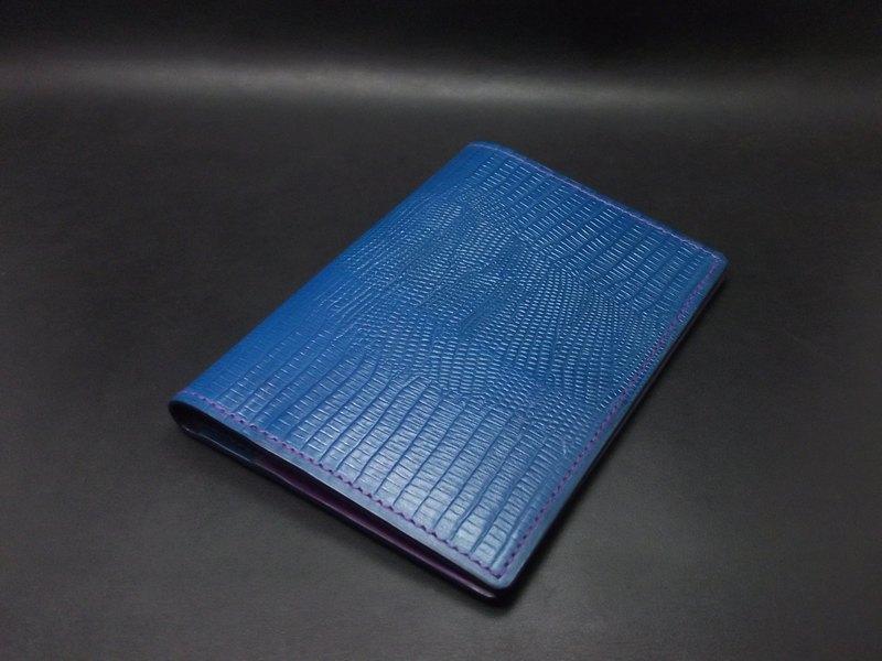 APEE皮手工~護照夾~蜥蜴皮紋~青藍+葡萄紫