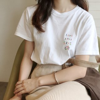 All Love LOVE & PEACE / Wide Top Rainbow Embroidery T-SHIRT (Neutral Edition)