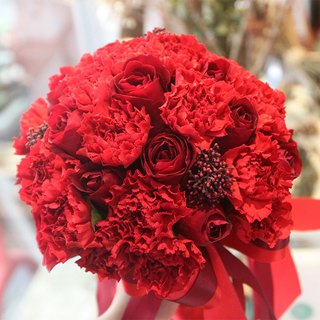 Flowers - [Combination] Exquisite Flower Bouquet & Corsage Red B-AR01