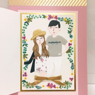 [Customer] Love door hand-painted wreath Valentine birthday card (please discuss before ordering)
