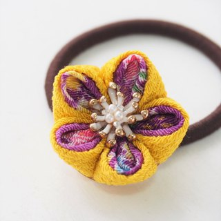 Charming Yellow and Purple Flower Gold leave Hair tie custom