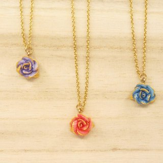 =Dash of Gold= Rose with Hand-painted Golden Edge Necklace Customizable
