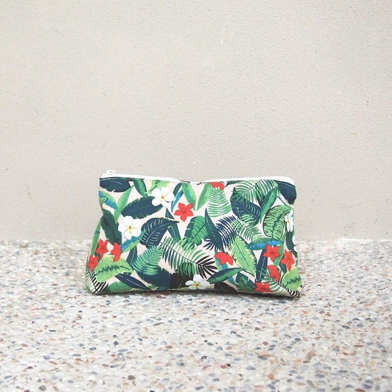 Handmade storage cosmetic bag - tropical rainforest