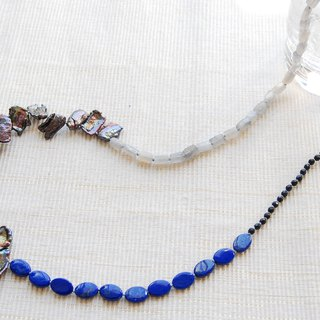 Four types of stone patchwork like necklace Lapis lazuli