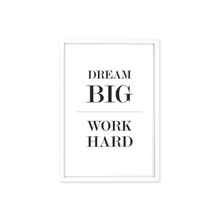 HomePlus Decorative Frame Dream Big Work Hard Simple White 63x43cm Wall Decor