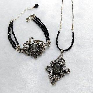 <Silver Series>Black Crystal Design Necklace & Bracelet Set