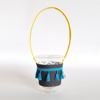 Skirt shake tassel drink cup bag / iron gray x yellow x Turkish blue