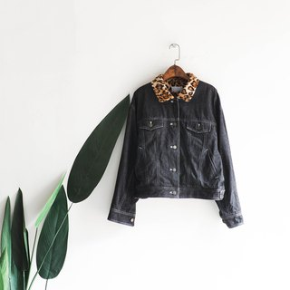 Fukuoka gray black leopard warm paving wool garden dream antique cotton denim shirt jacket oversize