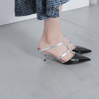 Cross structure hollow low heel sandals silver black