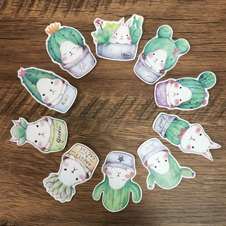 Matte texture sticker / fleshy white rabbit (10 pieces) cactus