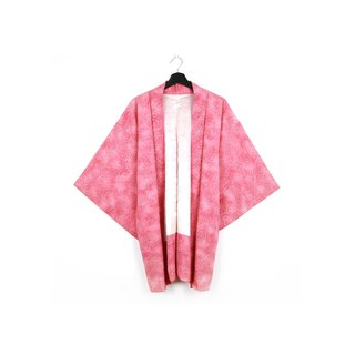 Back to Green-Japan brought back feather weave pink white line flower/vintage kimono
