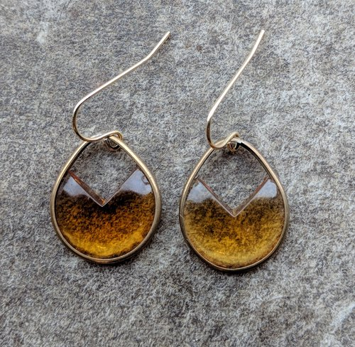 Vintage Honey Color Glass Drop Earrrings