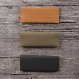 Washed kraft paper long clip _ calm dark color