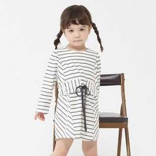 Ángeles-waisted design striped dress