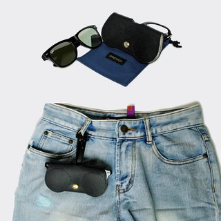Black-safia B.Cover Hanging Out leather Pouch Cases Sunglasses