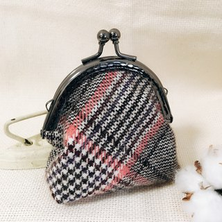 Handmade  Coin Purse - British female pink Plaid