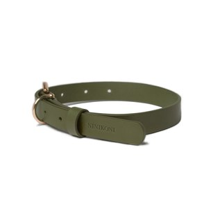 Cittadino Italian vegetable tanned leather collar - olive green