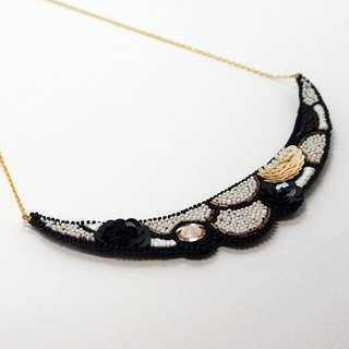 Crescent Shaped Embroidery Necklace / Snowy White