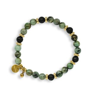 String Series Brass African Turquoise Volcanic Rock Bracelet Natural Ore Crystal