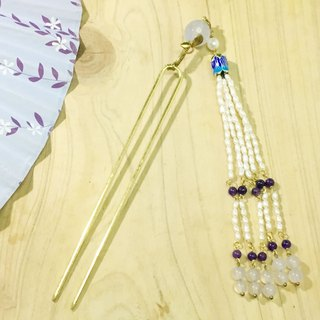 Tung Kee Ling set decoration - pull Tianhua} {tiny sky blue with jade beads section bluing Corolla pearl tassel Bob hair plug hairpin