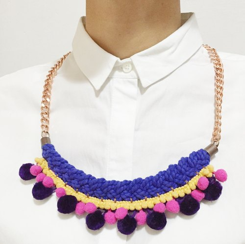 Handcrafted Geometric Pom Pom Necklace - Marion