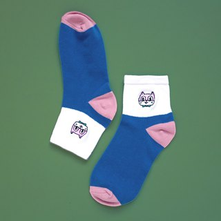 Kitten embroidered cotton socks