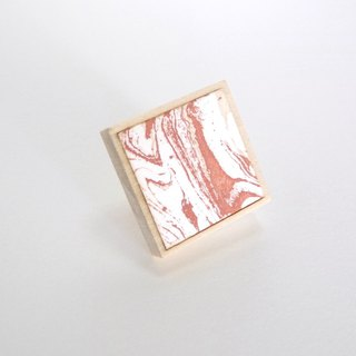 Marble pattern copper prints and wooden lapel pin Coral