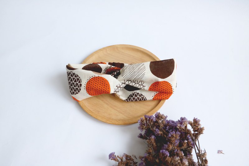 MaryWil Bi-colored Suede Hair Band - Coffee Orange Geometry