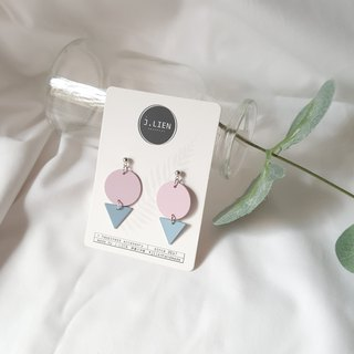 Tube geometry - pink blue ear / ear clip handmade earrings Korea direct