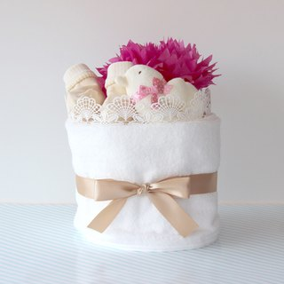 Diaper cake No.3 For girls With toys & socks made in Japan Imabari towel Ba
