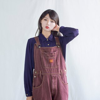 Brick red purple vintage strap jeans