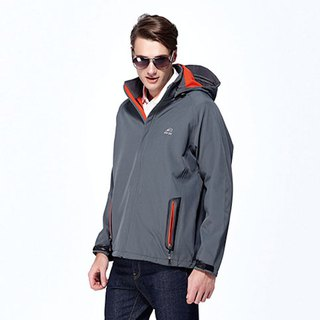 Black waterproof breathable hooded sports jacket