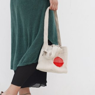 Ke new literary artifact canvas bag hand cloth handbag shoulder bag diagonal casual solid color bucket bag