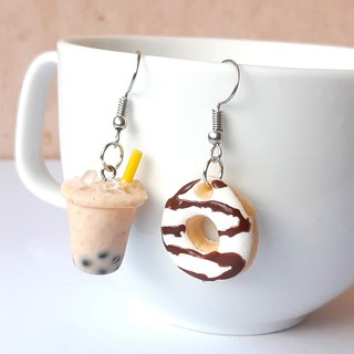 Bubble milk tea + donut 23  earring