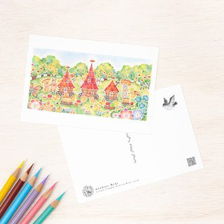 "4 pieces set. Like a picture book. Postcard ""Carrot Carnival Lunch"" PC-355"