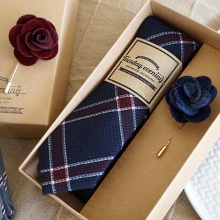 Neck Tie Navy Red Plaid with Blue Lapel Pin (ฺwith Crafted box)