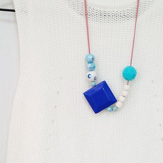 Amusing Royal Blue Beaded Long Chain Necklace