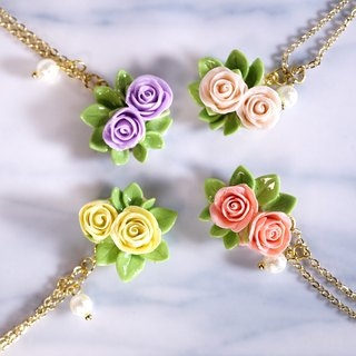 Playful Design spring and summer resin Clay Rose Necklace