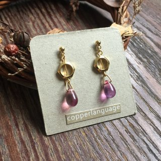 Earrings - teardrop series / hexagonal fuchsia