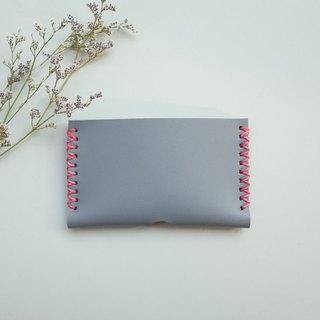 Leather card holder in grey
