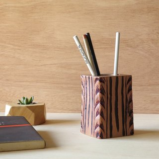 HO MOOD Deconstruction Series—Rolled Grass Pattern Antique Wood Pencil Holder