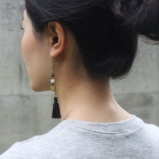 Freedom Bohemian Dark Purple Tassel Earrings - 14K Gold Filled Hooks / Clip-Ons