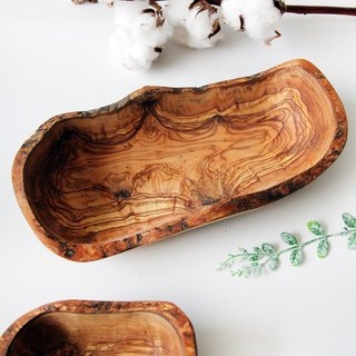 British Naturally Med Boutique Kitchen Olive Wood Solid Wood Irregular Rustic Bowl (Large)