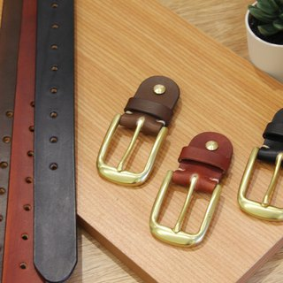 [Mini5] popular fog face belt (brown) / hand dyed vegetable tanned leather 3.2cm wide belt