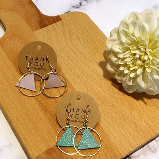 Ring leather hook earrings