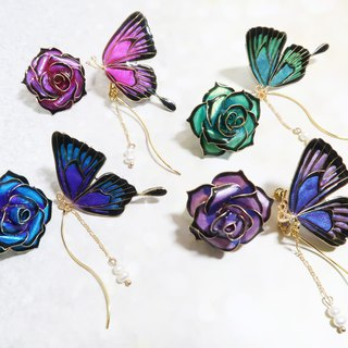 Miss Paranoid Paranoia Rose and Peacock Blue Green Swallowtail Butterfly Resin Earrings
