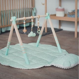 Wooden baby play gym and mobile accessories (light blue)