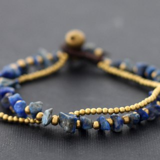 Lapis Stone Brass Double Strand Bracelets Simple Beaded
